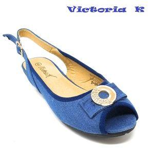 Slingback Open Toe Ballet Flats, B-2618, Blue
